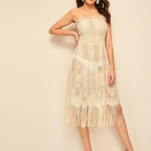 🚨NEW LIST NWOT Strapless Lace Fringed Beach Dress